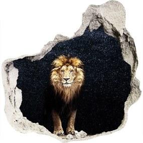 Fototapet 3D gaură în perete Leul pe fondul de stele