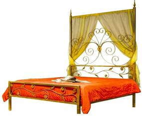 Pat matrimonial Queen din fier forjat cu balcachin 180x200 cm