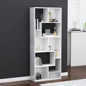 801883 vidaXL Bibliotecă, alb extralucios, 67 x 24 x 161 cm, PAL