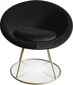 Fotoliu negru din catifea cu picior auriu Hobby Opjet Paris