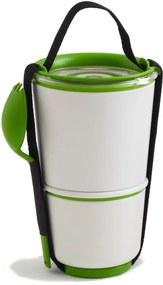 Bol pentru gustări Black + Blum Lunch Pot, alb - verde