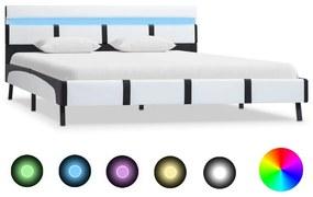 280298 vidaXL Cadru de pat cu LED, alb, 120 x 200 cm, piele ecologică