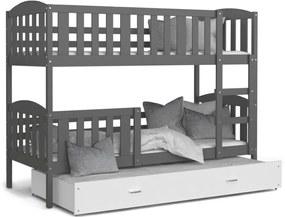 Expedo Pat supraetajat copii cu pat suplimentar KUBA 3 COLOR + saltea + somieră GRATIS, 190x80, gri/alb