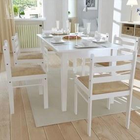 272092 vidaXL Scaune de bucătărie, 6 buc., alb, lemn masiv & catifea