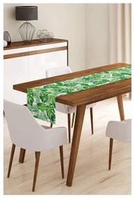 Napron din microfibră pentru masă Minimalist Cushion Covers Green Jungle Leaves, 45 x 145 cm