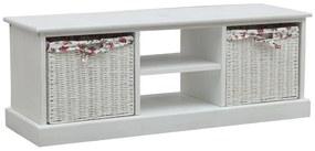 287842 vidaXL Comodă TV cu două coșuri, alb, lemn