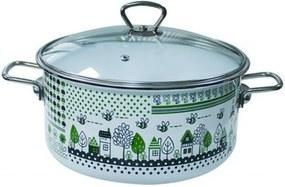 Oala emailata ruseasca 5 L 24 cm capac sticla Green Lief 012981