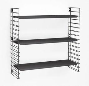 Etajeră cu 3 rafturi Metaltex Libro, negru, lățime 70 cm