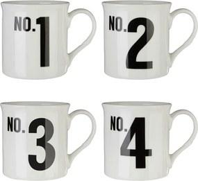 Set 4 căni din porțelan bone china Premier Housewares Numbers, 342 ml
