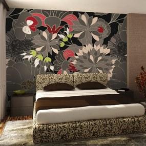 Fototapet Bimago - Floral Design - Gray + Adeziv gratuit 250x193 cm