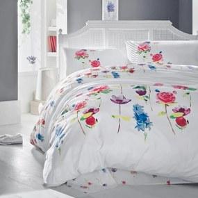Lenjerie de pat cu cearșaf din bumbac şi 2 feţe de pernă Spring, 200 x 220 cm