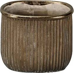 Ghiveci Golden Grooves din ceramica aurie 17 cm