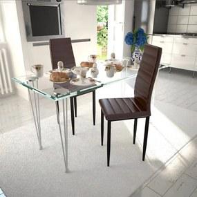 241500 vidaXL Scaune de bucătărie, 2 buc., maro, piele ecologică