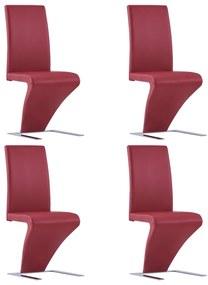 278874 vidaXL Scaune de bucătărie cu formă zigzag 4 buc. roșu piele ecologică