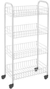 430399 Metaltex Cărucior de bucătărie cu 4 coșuri Pisa, alb