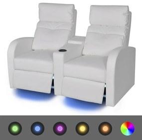 243595 vidaXL Fotoliu rabatabil cu 2 locuri, LED piele artificială alb