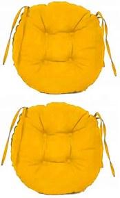 Set Perne decorative rotunde, pentru scaun de bucatarie sau terasa, diametrul 35cm, culoare galben, 2 buc/set