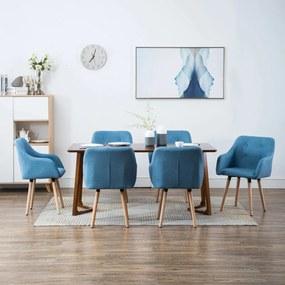 275422 vidaXL Scaune de bucătărie, 6 buc., albastru, material textil