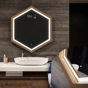 Oglindă de baie LED - Hexagon