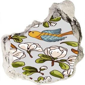 Fototapet un zid spart cu priveliște Flori și păsări