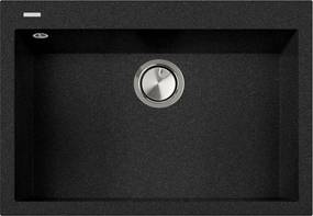 Chiuveta bucatarie granit CookingAid Cube ON7610 Neagra / Black Metal quartz + accesorii montaj