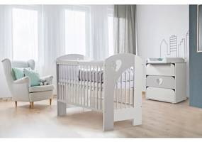 Klups - Mobilier camera copii si bebelusi Nel Heart, Alb/Gri