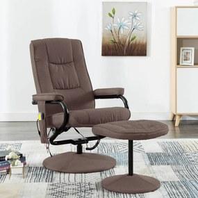 249317 vidaXL Fotoliu de masaj rabatabil cu taburet, maro, material textil