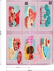 Fototapet GLIX - Cupcakes Retro  + adeziv GRATUIT Papírová tapeta  - 184x254 cm