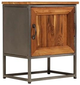 246278 vidaXL Noptieră, 40 x 30 x 50 cm, lemn de tec reciclat și oțel