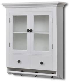 241374 vidaXL Dulap de perete pentru bucătărie, cu ușă din sticlă, lemn, alb