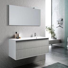 Set de baie cu 4 piese AGO , Melamina Aluminiu Abs Sticla Ceramica Metal, Gri,  121x46.5x190 cm