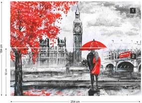 Fototapet GLIX - London Red Black White Art Painting + adeziv GRATUIT Tapet nețesute - 254x184 cm