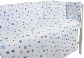 Lenjerie patut cu 5 piese Blue and Grey Stars white
