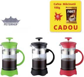 Filtru manual 800 ml Cafea si Ceai French Press, Cafea macinata, Sticla