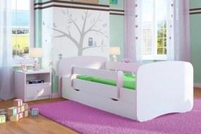 Pat pentru copii Ourbaby cu bariere de siguranta – alb 180x80 cm pat fără spațiu de depozitare