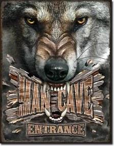 Man Cave Wolf Placă metalică, (30 x 42 cm)
