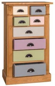 Comoda 8 Sertare Odette, lemn masiv, Multicolor, 60 x 36 x 100 cm