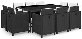 Set mobilier de exterior 31 piese, poliratan, negru