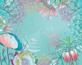 ohpopsi Fototapet květiny - Teal Flora 350x280 cm