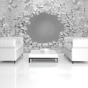 Fototapet - 3D - explozie peretelui din cărămizi (254x184 cm), în 8 de alte dimensiuni noi