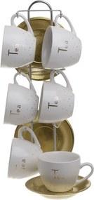Glitter Set 6 cesti si farfurioare Ceai, Portelan, Alb
