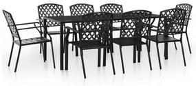 Set mobilier de exterior, 9 piese, plasă din oțel, negru
