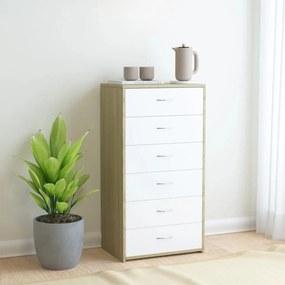 800671 vidaXL Servantă cu 6 sertare, alb și stejar Sonoma, 50x34x96 cm, PAL
