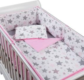 Set lenjerie 5 piese din bumbac Kidizi Pink Stars, perna bebelus, plapumioara, aparatoare si cearceaf
