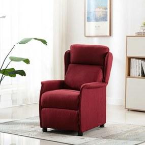 289789 vidaXL Fotoliu rabatabil de masaj, roșu vin, material textil