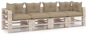 3066132 vidaXL Canapea paleți de grădină cu perne, 4 locuri, lemn de pin