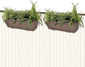 Jardinieră din ratan pentru balcon, 50 cm, 2 buc, Maro