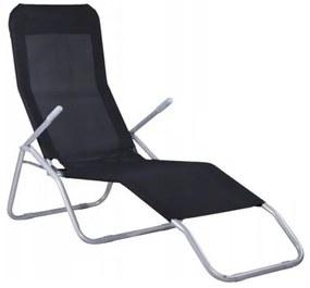 Sezlong de gradina, metalic, reglabil, negru, 189x57x30/96 cm