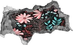 Fototapet un zid spart cu priveliște Flori de primavara caramida