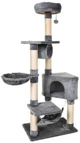 PawHut Stalp de zgarieturi pentru Pisici cu Cusca Hamac Patucuri Suspendate si Stalpi din Franghie Sisal Gri 60x40x154cm